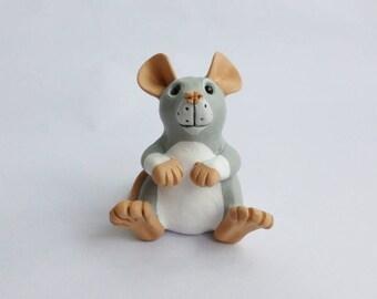 Blue Berkshire Rat Fancy Rat Sculpture Pet Rat Ornament Polymer Clay Mouse