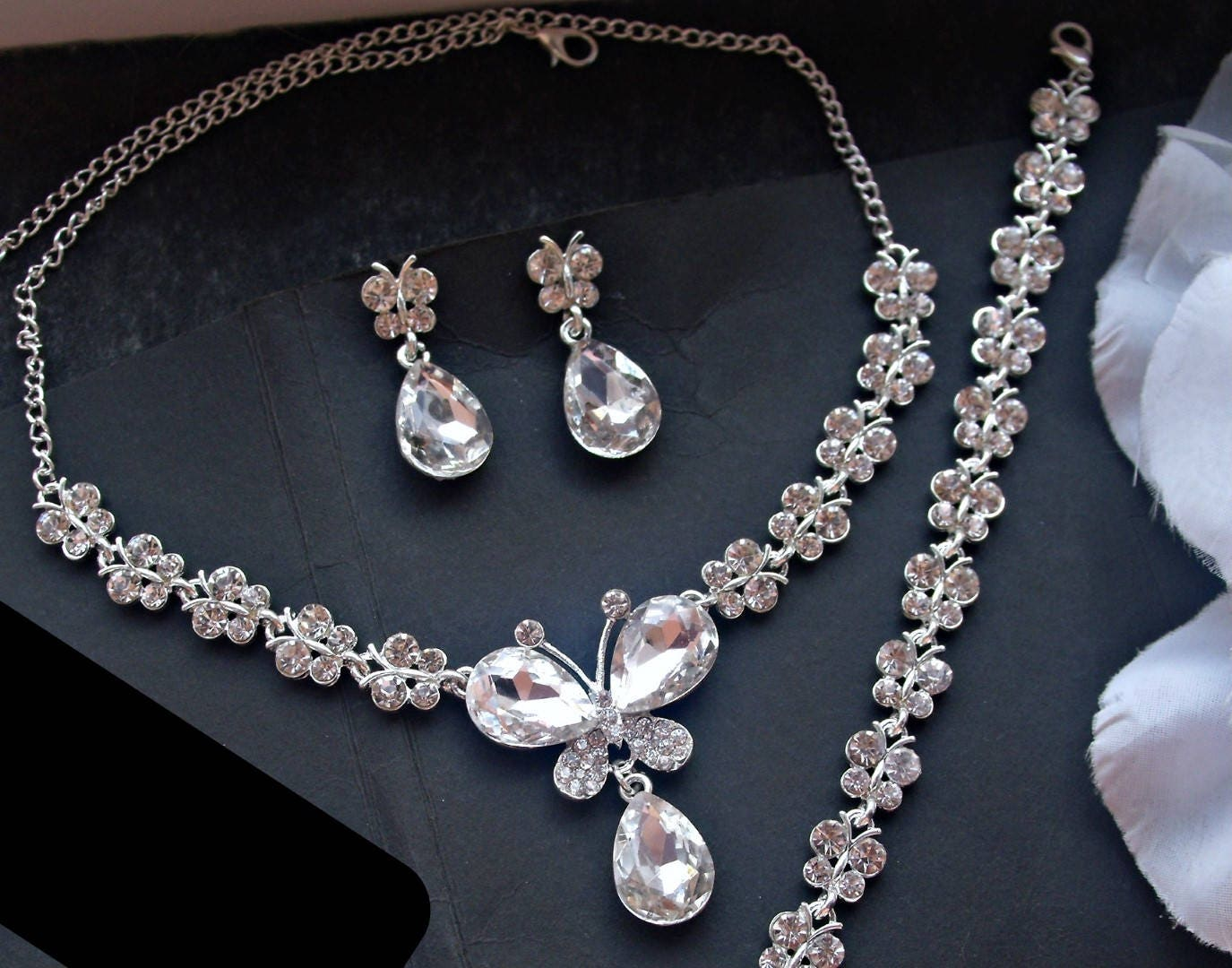 Bridal Jewelry Set Crystal Butterfly Jewelry Set Butterfly