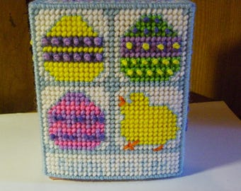 Plastic Canvas Happy Easter Tissue Box Cover   #206