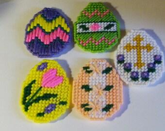 Set of 5 Plastic Canvas Easter Egg Magnets   #5.25