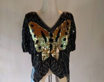 Black & Gold Disco Sequin Butterfly Top Cape Glam Glitz