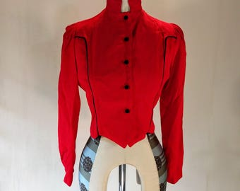 Bright Red New Romantic Crop Shirt Top