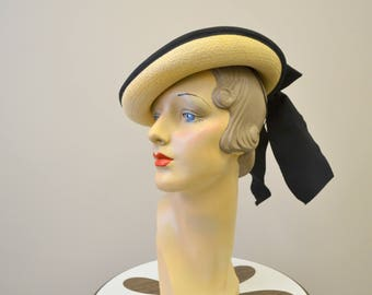 1940s Straw Hat with Black Bow and Band