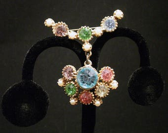 Pastel Rhinestone and Faux Pearl Brooch, ca. 1950s
