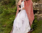 Pink velvet hooded cloak, Beautiful for a wedding, handfasting, quality heavy cotton velvet with large hood. re-enactment, cosplay, LOTR,