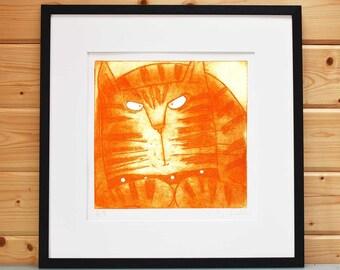 Ginger - original ginger Tom cat print, ginger cat art limited edition of 250 orange Tom Cat etching cat art prints menacing ginger unframed