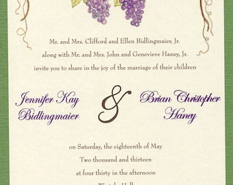 Grape Wedding Invitation   Grape Wedding Invitations Set   Vineyard Wedding    Fall Wedding Invitations Suite