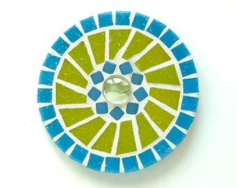 Mosaic dot wall decor, chartreuse and turquoise wall art