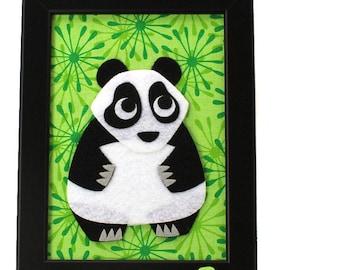 Panda -  Baby Shower Gift - Felt Animal Art - Kids Room Nursery Decor