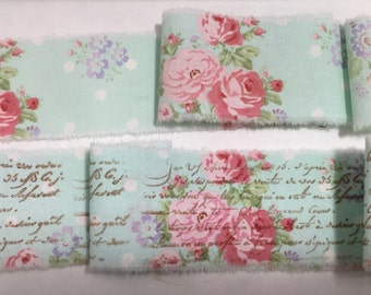 French Blue Ribbon Trim, French Inspired Ribbon, Vintage Rose Trim, Floral Ribbon Trim, Vintage Inspired Ribbon, Rose Ticking Ribbon ECS
