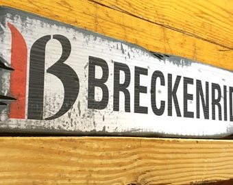 Breckenridge Ski Resort Sign, Handcrafted Rustic Wood Sign, Mountain Decor for Home and Cabin, 1105