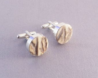 Elk Antler Cuff Links SHIPS IMMEDIATELY Handmade Western Elk Antler Cufflinks