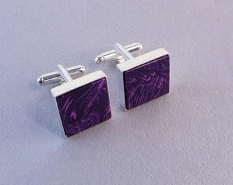 Orchid Wedding Cufflinks SHIPS IMMEDIATELY Handmade Composite Russian Lavender Charoite Cuff links