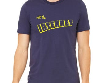 Men's funny shirt, 'Visit the Internet' on Bella navy, S-XXL available- Worldwide Shipping