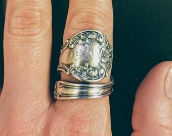 Wild Rose Ring, Sterling Silver Spoon Ring, Silver Rose Flower, Gorham Fleury, Engraved B, Unique Gardener Gift, Adjustable Ring Size (6148)