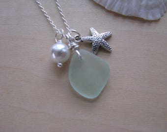 Light Green Beach Glass Necklace Genuine White Pearl and mini starfish charm drilled real sea glass charm necklace seaglass gift jewelry
