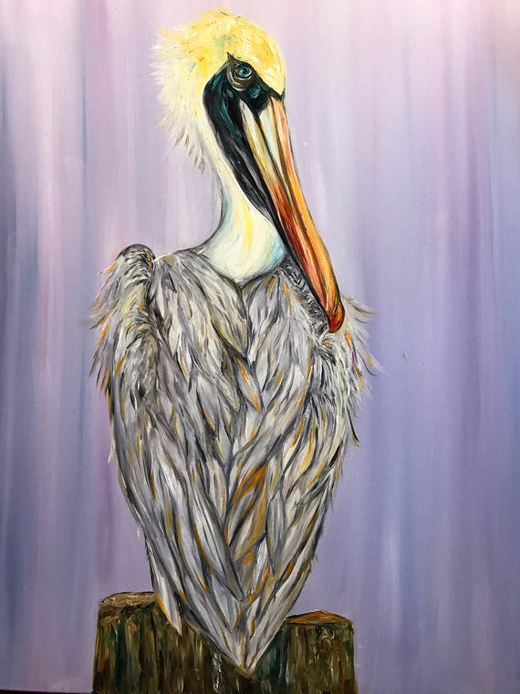 Cheeky Pelican, 40x30 Original Oil on Canvas