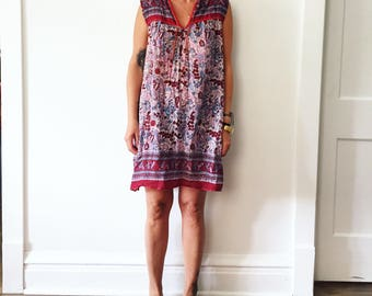 Vintage India Cotton Gauze Mini Dress , Sheer India Block Print Tunic Dress