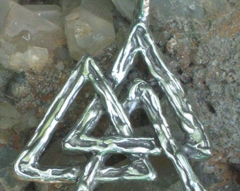 "Sterling Silver Vulknut Symbol  "" Knot of the Slain "" Pendant. Organic Texture.Magical Rune.Magical Amulet.Viking Runes.Magical Charm"