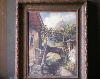 Vintage Framed Oil Painting - Rustic Villa - Italian Scene with Grapevines