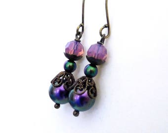 Dark iridescent pearl earrings, filigree bead caps, antiqued brass, emerald and plum, purple opal crystal, vintage style dark color jewelry