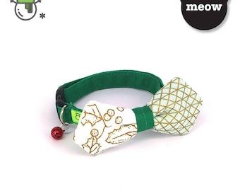 GOOOD Cat Collar   Mighty Angled Bow - Gold Mistletoe   100% Gold Mistletoe & Green Fabric   Safety Breakaway Buckle