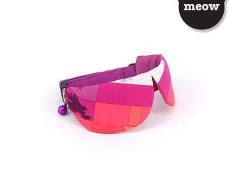 GOOOD Cat Collar   Dapper Round - Daring Disco   100% Pink & Purple Cotton Fabric   Safety Breakaway Buckle