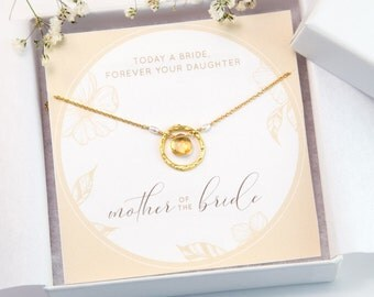 Mother of the Bride Gift Necklace, Gift From Daughter, Custom Bridal Card, Gemstone Necklace, Custom Wedding Jewelry, Gift For Her