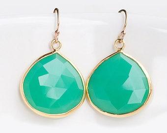 Chrysoprase Earrings Gold, Green Stone Earrings, Mint Green Earrings, Drop Earrings Gold, Crystal Earrings Dangle, Gift for Sister, Boho