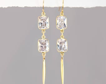 Clear Quartz Crystal Earrings, Gold Bar Drop Earrings, Spike Jewelry, Gold Framed Crystal, Statement Earrings, Gift for Wife, Holiday Gifts