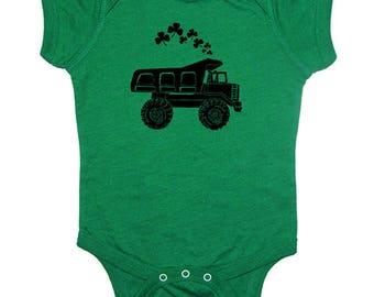St Patricks Day Shamrock Dump Truck Baby Shirt - Clover Baby One Piece Bodysuit Infant TShirt Tee Sizes 0-6 mo, 6-12 mo, 12-18 mo, 18-24 mo