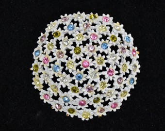 Vintage White Enamel Flower Bouquet Brooch with Multi-Color Rhinestones