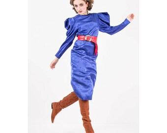 Vintage Hanae Mori silk dress / 1980s Cobalt blue silk damask maxi dress / Puff dramatic peaked sleeves / Butterfly pattern / S M