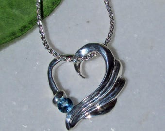 Angel Jewelry, Blue Topaz, Sterling Silver, Angel Heart Necklace, Blue Topaz Birthstone, Sagittarius Gift, November Birthstone, Gift of Love