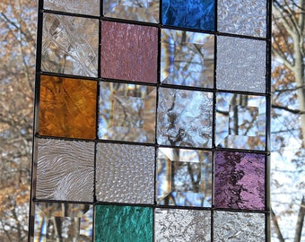 Stained glass window panel jewel tones READY TO SHIP 8 x 10 sun catcher