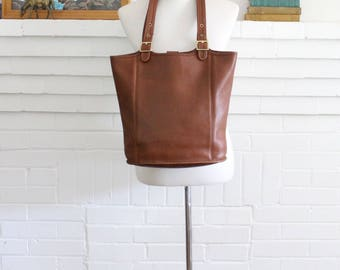 Vintage Coach Bag // Tote Shopper British Tan // XL Coach Bucket Purse 9090