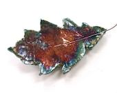 Ceramic leaf wall art ~ ceramic leaf, raku leaves hanging wall decoration, leaf art sculpture, woodland gift for Mum,