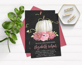 Fall Bridal Shower Invitations, Fall Floral Bridal Shower Invitations, Rustic Fall Bridal Shower Invitations