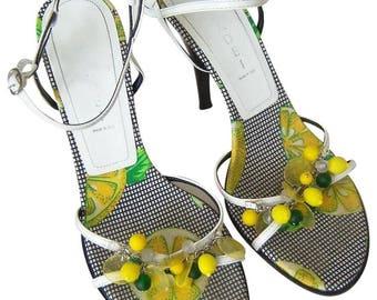 CASADEI SANDALS Adorable Embellished Lemons and Limes