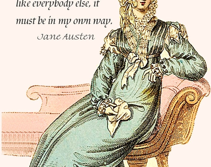Jane Austen Quotes - Sense and Sensibility - I wish, as well as everybody else, to be perfectly happy... Jane Austen Card - Postcard - Card