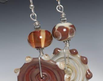 Asymmetrical Fall Coffee Brown Cream Ivory Glass Lampworking Beaded Sterling Silver Earrings