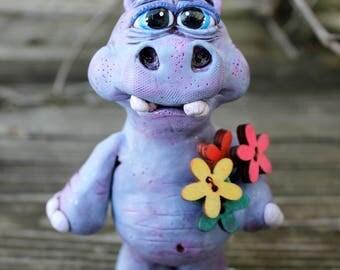 Hippo Flower Polymer Clay Sculpture