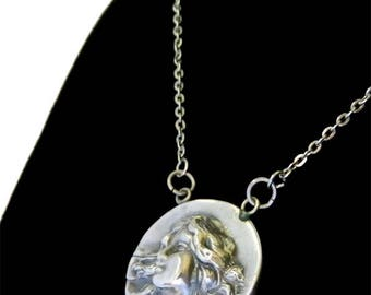 Antique Victorian Sterling Silver Pendant Necklace