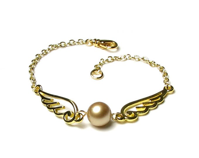 Golden Snitch Bracelet, Magical Gold Wings, Swarovski Vintage Gold Pearl Bracelet, Golden Snitch Jewelry, Gift For Teen, Stocking Stuffer