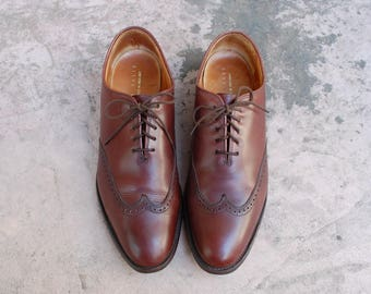 Vintage Mens 10 Perry Ellis Handcrafted in England Lace Up Wingtips Oxfords Brogues Classic Wedding Shoes Genuine Leather Hipster Shoes