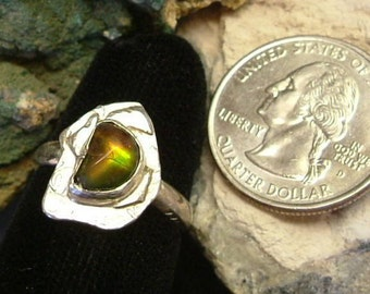 Bright Red, Orange, Green and Yellow Fire Gem Ammolite Found in Utah Deposit, .925 Sterling Silver Size 8 Ring  729