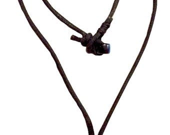 Handmade Rough Cut Black Tourmaline Pendant on a Black Cord Necklace with Bead Button Closure