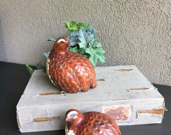 Vintage Ceramic Quail Figurines Sitting Bird Statues ~ #J2123