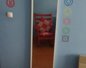Chakra Vinyl Stickers, Yoga Wall Stickers, Removable Yoga Wall Decals, Chakra Symbols, Chakra Vinyl Set, Meditation Stickers