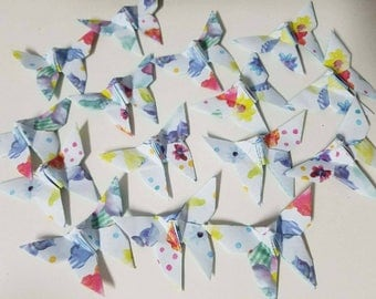 36 Watercolor Style Floral Origami Butterflies